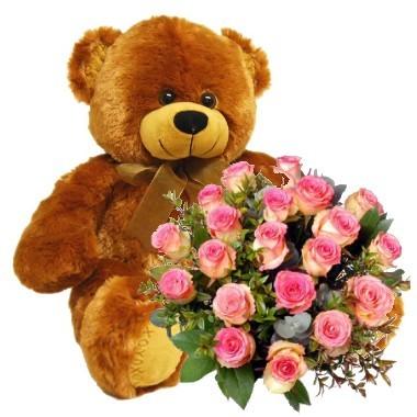Bouquet de veinte y cuatro rosas y peluche