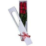 Caja con seis rosas